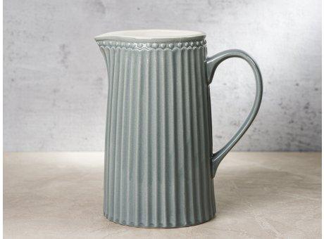 Greengate Krug ALICE Grau Kanne Everyday Keramik Geschirr Stone Grey 1 Liter Rillenmuster Hygge für jeden Tag