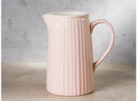 Greengate Krug ALICE Rosa Kanne Everyday Keramik Geschirr Pale Pink 1 Liter Pink Pale Rillenmuster Hygge für jeden Tag