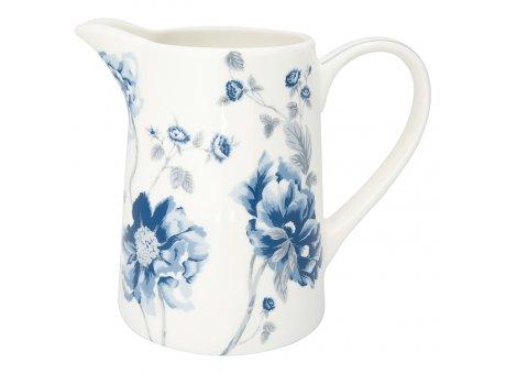 Greengate Krug CHARLOTTE Weiss Blau Blumen Kanne 1 Liter GG Produkt Nr STWJUG1LCHL0104