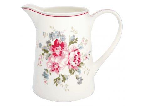 Greengate Krug ELOUISE Weiss Blumen Kanne 1 Liter GG Produkt Nr STWJUG1LELO0104