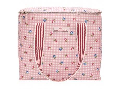 Greengate Kühltasche VIOLA Pale Pink Check mit Blumen und Karo Muster Rosa 20x32 cm Greengate Cooler Bag Nr OILCOO2HVCH1903