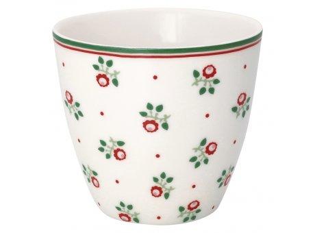 Greengate Latte Cup ABI PETIT Weiss Porzellan Tasse mit Blümchen Rot Grün 300 ml Greengate Becher Design Nr STWLATABP0106