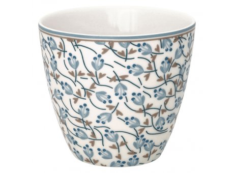 Greengate Latte Cup ADDISON Weiss Porzellan Tasse mit Blumen in Blau 300 ml Greengate Becher Design Nr STWLATADD0106
