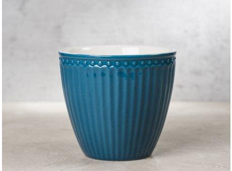 Greengate Latte Cup ALICE Blau dunkelblau Kaffee Becher Everyday Keramik Geschirr Ocean Blue 300 ml Rillenmuster Hygge für jeden Tag