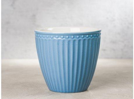 Greengate Latte Cup ALICE Blau Kaffee Becher Everyday Keramik Geschirr Sky Blue 300 ml Rillenmuster Hygge für jeden Tag