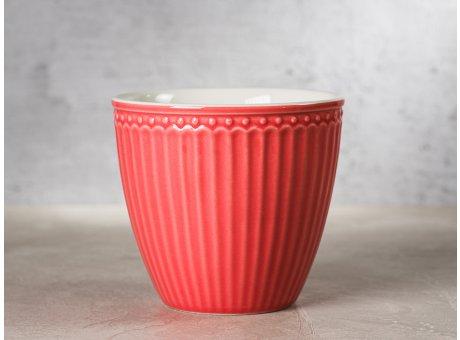 Greengate Latte Cup ALICE Koralle Kaffee Becher Everyday Keramik Geschirr Coral 300 ml Rillenmuster Hygge für jeden Tag
