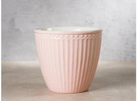 Greengate Latte Cup ALICE Rosa Kaffee Becher Everyday Keramik Geschirr Pale Pink 300 ml Rillenmuster Hygge für jeden Tag