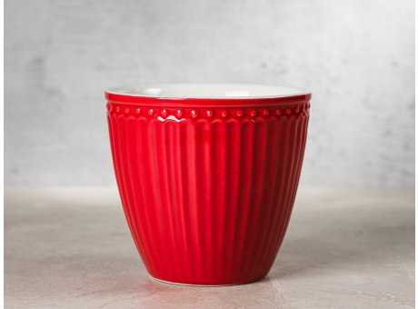 Greengate Latte Cup ALICE Rot Kaffee Becher Everyday Keramik Geschirr Red 300 ml Rillenmuster Hygge für jeden Tag