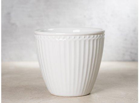Greengate Latte Cup ALICE Weiss Kaffee Becher Everyday Keramik Geschirr White 300 ml Rillenmuster Hygge für jeden Tag