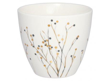 Greengate Latte Cup ANTONIA Weiss Porzellan Tasse mit Gräsern in Gold Grau 300 ml Greengate Becher Design Nr STWLATPATN0106