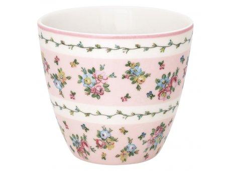 Greengate Latte Cup AVA Weiss Rosa Porzellan Tasse mit Blumen Muster 300 ml Greengate Becher Design Nr STWLATAVA0106