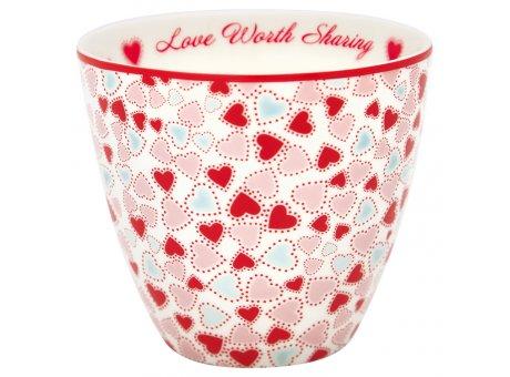 Greengate Latte Cup Becher LOVE Worth Sharing Weiss mit Herzen GG Produkt Nr STWLATLOV0106