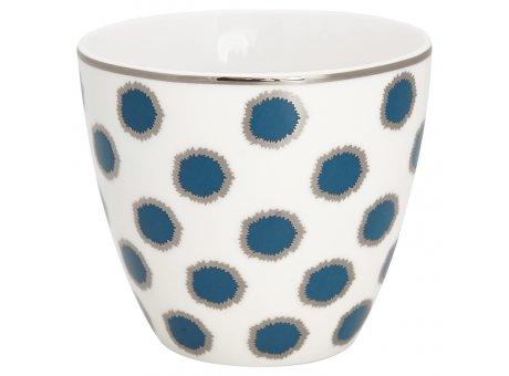 Greengate Latte Cup Becher SAVANNAH Weiss Blau mit silber Rand GG Produkt Nr STWLATSAV2506