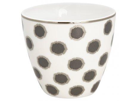 Greengate Latte Cup Becher SAVANNAH Weiss Schwarz mit silber Rand GG Produkt Nr STWLATSAV0106