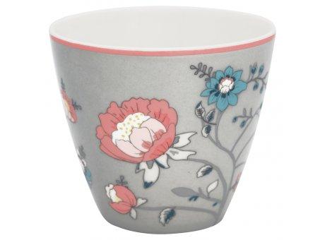 Greengate Latte Cup Becher SIENNA Grau mit Blumen GG Produkt Nr STWLATSIE8106