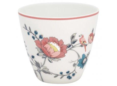 Greengate Latte Cup Becher SIENNA Weiss mit Blumen GG Produkt Nr STWLATSIE0106