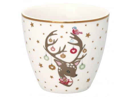 Greengate Latte Cup DINA Weiss Porzellan Tasse mit Bambi 300 ml Greengate Becher Goldrand Design Nr STWLATPDIN0106
