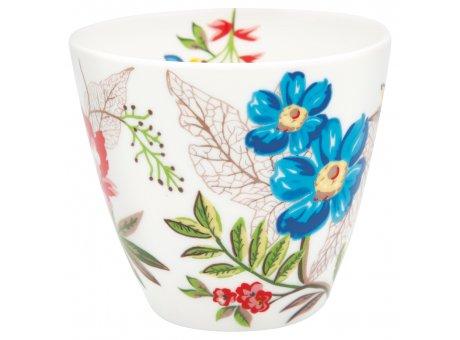 Greengate Latte Cup ELLEN Kaffee Becher aus Porzellan weiß mit Bunten Blumen 300ml Greengate Produkt Nr. STWLATELE0106