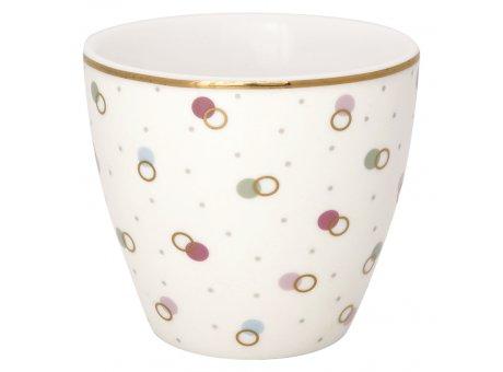 Greengate Latte Cup KYLIE Weiß Porzellan Tasse mit bunten Punkten 300 ml Greengate Becher Goldrand Design Nr STWLATPKYL0106