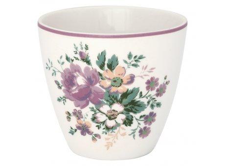 Greengate Latte Cup MARIE Dusty Rose Rosa Weiss Porzellan Tasse mit Blumen 300 ml Greengate Becher Design Nr STWLATMAR1106