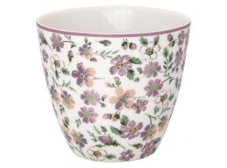 Greengate Latte Cup MARIE PETIT Dusty Rose Rosa Weiss Porzellan Tasse mit Blümchen 300 ml Greengate Becher Design Nr STWLATMPE1106