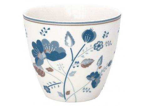 Greengate Latte Cup MOZY Weiss Porzellan Tasse mit blauen Blumen 300 ml Greengate Becher Design Nr STWLATMOZ0106