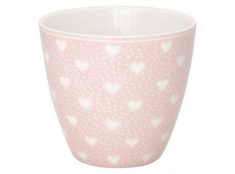 Greengate Latte Cup PENNY Pale Pink Rosa mit Herzen Weiss Porzellan Tasse 300 ml Greengate Becher Design Nr STWLATPNY1906