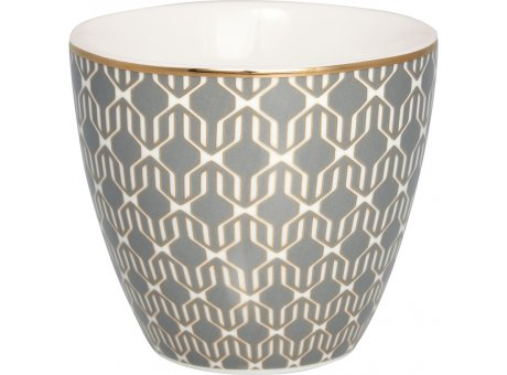 Greengate Latte Cup RANI Dark Grey Grau Porzellan Tasse mit Muster Dunkelgrau 300 ml Greengate Becher Goldrand Design Nr STWLATPRAN8806