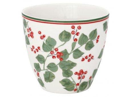 Greengate Latte Cup SCARLETT Weiss Porzellan Tasse mit Beeren und Blättern 300 ml Greengate Becher Design Nr STWLATSCT0106