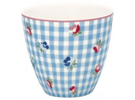 Greengate Latte Cup VIOLA Pale Blue Check Porzellan Tasse Weiss Blau Karo 300 ml Greengate Becher Design Nr STWLATVCH2906