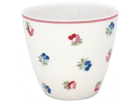 Greengate Latte Cup VIOLA Weiss Porzellan Tasse mit Rosa Rand und Blümchen 300 ml Greengate Becher Design Nr STWLATVIO0106
