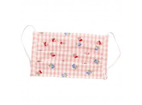 Greengate Maske VIOLA Pale Pink Check mit Blumen und Karo Muster Rosa Greengate Mund Nasen Bedeckung Nr COTFAMVCH1904