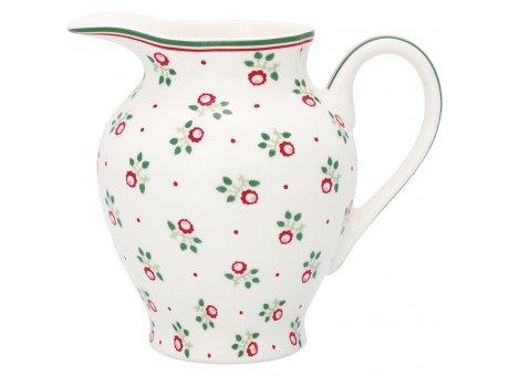 Greengate Milchkännchen ABI PETIT Weiss Blumen Rot Grün Sahnekännchen 350 ml Greengate Kanne Nr STWCRERABP0104