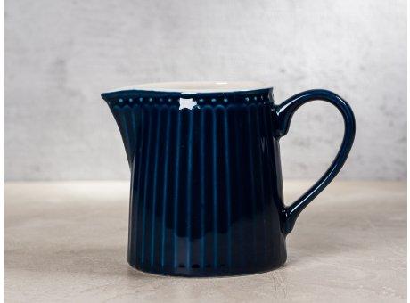Greengate Milchkännchen ALICE Dunkelblau Everyday Keramik Geschirr Dark Blue Creamer Rillenmuster Hygge für jeden Tag