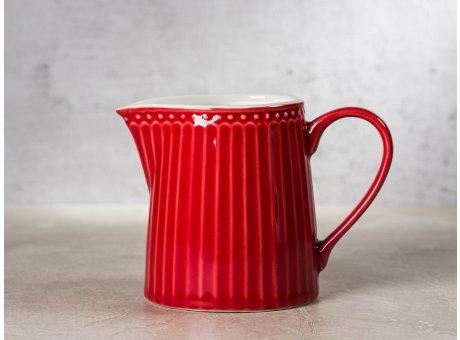 Greengate Milchkännchen ALICE Rot Everyday Keramik Geschirr Red Creamer Rillenmuster Hygge für jeden Tag