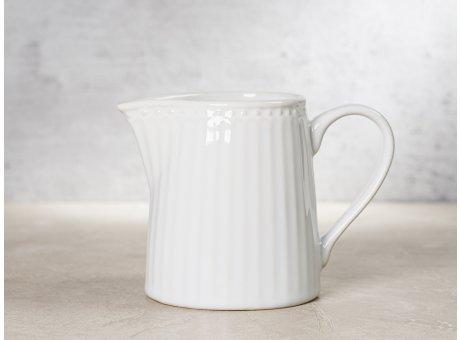 Greengate Milchkännchen ALICE Weiss Everyday Keramik Geschirr White Creamer Rillenmuster Hygge für jeden Tag