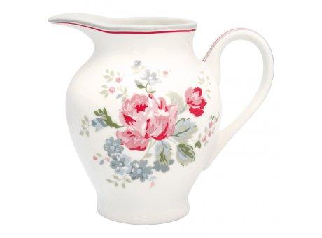 Greengate Milchkännchen ELOUISE Weiss Blumen Porzellan Kanne klein 350 ml GG Produkt Nr STWCRERELO0104