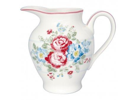 Greengate Milchkännchen HENRIETTA Weiss mit Blumen Rot Blau Sahnekännchen 350 ml Creamer Greengate Produkt Nr STWCRERHET0104