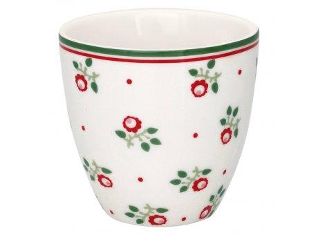 Greengate Mini Latte Cup ABI PETIT Weiss mit Blumen Porzellan Espresso Tasse 130 ml Greengate Design Nr STWMLAABP0106