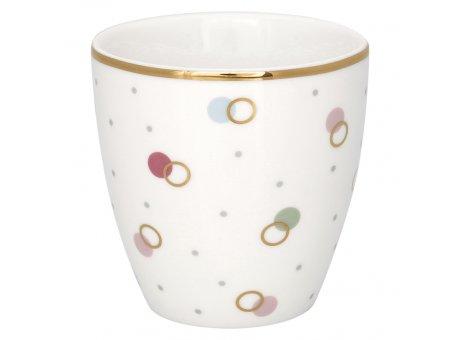 Greengate Mini Latte Cup KYLIE Weiß mit bunten Punkten Espresso Tasse Goldrand 130 ml Greengate Design Nr STWMLAPKYL0106