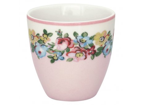 Greengate Mini Latte Cup MADISON Weiss Rosa mit Blumen Porzellan Espresso Tasse 130 ml Greengate Design Nr STWMLAMDS0106