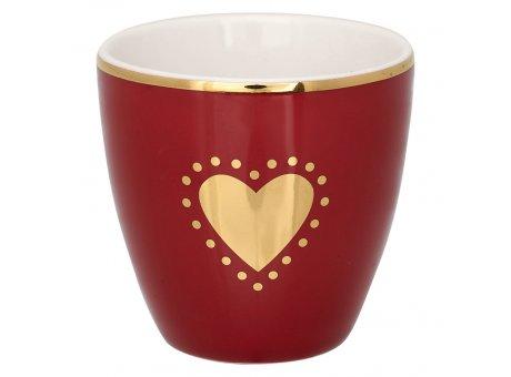 Greengate Mini Latte Cup PENNY Bordeaux Rot mit weissen Herz in Gold Espresso Tasse Goldrand 130 ml Greengate Design Nr STWMLAPPNY1206
