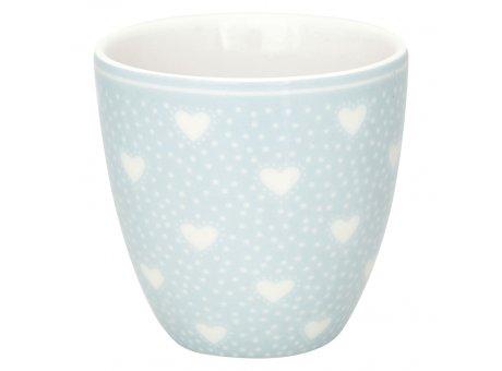 Greengate Mini Latte Cup PENNY Pale Blue Blau mit weissen Herzen Porzellan Espresso Tasse 130 ml Greengate Design Nr STWMLAPNY2906