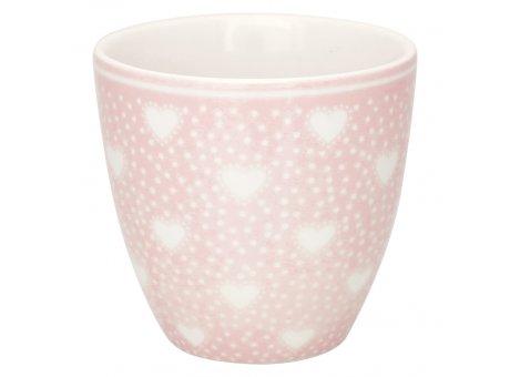 Greengate Mini Latte Cup PENNY Pale Pink Rosa mit weissen Herzen Porzellan Espresso Tasse 130 ml Greengate Design Nr STWMLAPNY1906