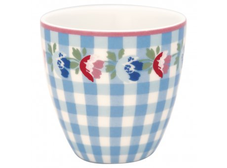 Greengate Mini Latte Cup VIOLA Pale Blue Check Porzellan Espresso Tasse Weiss Blau Karo 130 ml Greengate Design Nr STWMLAVCH2906