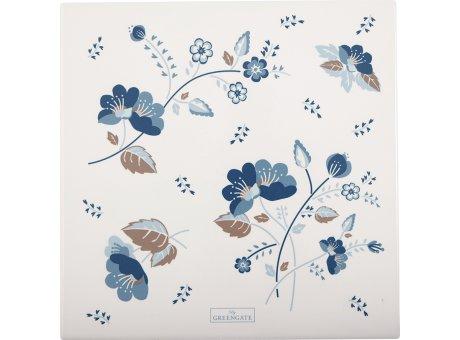 Greengate MOZY Untersetzer Eckig Weiß mit blauen Blumen Porzellan Platte 22x22 cm Greengate Nr CERCSTSMOZ0104