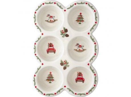 Greengate Muffinform CHARLINE XMAS für 6 Muffins Keramik Muffin Backform Greengate Weihnachtsdeko NR STWMUPCHN9702