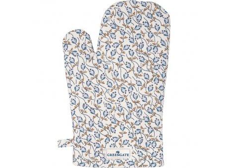 Greengate Ofenhandschuh ADDISON Weiß Blau Blumen Greengate BBQ Handschuh Nr COTGRIADD0104