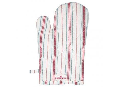 Greengate Ofenhandschuh BETSY Weiss Rot Gestreift Baumwolle BBQ Handschuh GG Produkt Nr COTGRIBSY0104