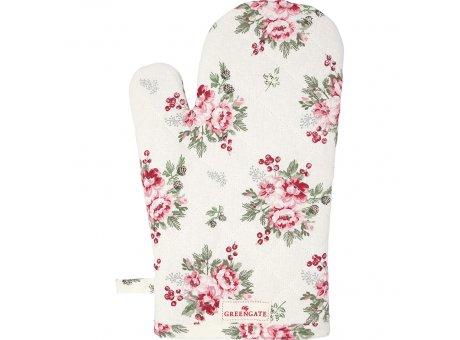 Greengate Ofenhandschuh CHARLINE Weiß Blumen Greengate BBQ Handschuh Nr COTGRICHN0104